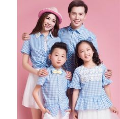==> [Free Shipping] Buy Best 2017 summer family look mother daughter matching clothes outfits father and son blue plaid shirt girl bubble sleeve lace shirts Online with LOWEST Price | 32369453764