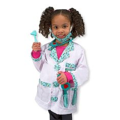 """Perfect for everyday dress-up or Halloween! Fits ages 3-6. Kids can role play being a doctor, with accessories to """"check reflexes"""" and """"take temperatures"""" and more! Click to learn more about this role play costume set."""