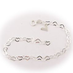 Solid 925 Sterling Silver Heart Link Bracelet Anklet ITALY b192[9.5 inches,1 chain]