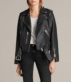 Women's Vintage Leather Balfern Jacket (Black) - Image 1