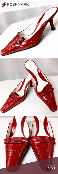 GIANNI BINI Red Patent Leather Mules - Size 6M These Mules / clogs are in very good condition! They have been gently worn. The only where Mark I see is on the sole of the shoe. The heel measures 3 inches high. Gianni Bini Shoes Mules & Clogs