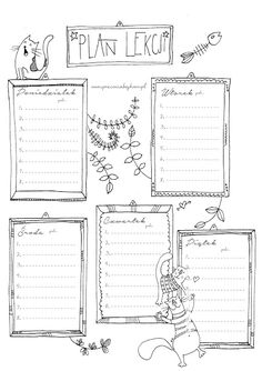 2016 * Koci plan lekcji do wydrukowania My Journal, Bullet Journal, School Timetable, Study Motivation, Planner Pages, Bujo, Lesson Plans, Back To School, Organization