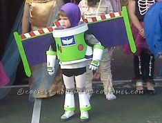 It all started with a white, plastic trash can, with removable lid. My three year old wanted to be Buzz Light year, from Toy Story. He was very specif...