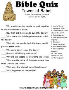 Enjoy our free Bible Quiz: Tower of Babel. Fun for kids to test their knowledge. Printable Bible quizzes for Kids. Bible School Crafts, Bible Crafts For Kids, Bible Study For Kids, Bible Lessons For Kids, Kids Bible, Vbs Crafts, Church Crafts, Sunday School Activities, Bible Activities