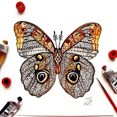 "Day 63 of my challenge #100daybutterflies #100daychallenge is inspired by ""Caligo Memnon, the owl butterfly"" can be found in the rainforests of Mexico  #triplesartists #art_empire #imaginationarts #artoftheday #arts_help #challenge #art  #illustration #butterfly #handdrawnart #yellow #nature #phooftheday #doodle #love #bw #rtistic_feature #featuregalaxy #allforarts  #me #worldbutterflies #happy #watercolor #acrylic #paint #fly #phanasu #painting"