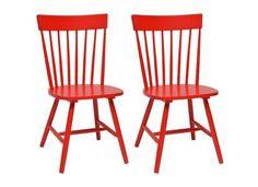 pour la salle de détente Chaises rouges en bois d'hévéa lot de 2 SOFIA -