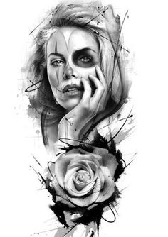 Resultado de imagen para design tattoo black and grey Girl Face Tattoo, Girl Tattoos, Tattoos For Women, Get A Tattoo, Arm Tattoo, Sleeve Tattoos, Chicano Tattoos, Body Art Tattoos, Tattoo Sketches