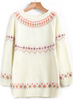 Shop White Long Sleeve Diamond Print Knit Sweater online. Sheinside offers White Long Sleeve Diamond Print Knit Sweater & more to fit your fashionable needs. Free Shipping Worldwide!