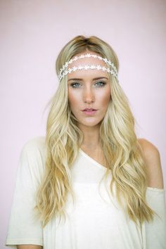 Daisy Chain Headband, Flower Crown, Wedding Hair Piece Double Strands (HB-14) on Etsy, $38.00