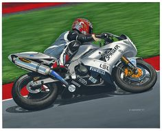 """Kawasaki racer Painting No.1 of a 2-painting commission from a US client. Acrylic on 20""""x 16"""" canvas © Paul Chenard 2017"""