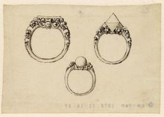 Designs for three rings, set with gems and a pearl, one of three jewellery designs, on a sheet inserted in 'A Jeweller's Pocket Book'; three rings each with shoulder decoration in relief, fruits and a mask, the ring at right set with a pyramidal gem, the one below with a pearl Pen and black ink, with grey and yellow wash; on vellum.  Drawn by Anonymous