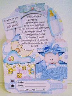 this is another in my fun ode to collection this one celebrates the arrival of a new baby boy theres a fun ode on the card front and an additional verse