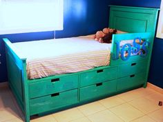 Ana White | Build a Fillman Storage Bed with Drawers | Free and Easy DIY Project and Furniture Plans.this would be cool if you did a couple more stacks of drawers then add a ladder to make it a short loft bed
