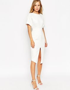ASOS – Strukturiertes Wiggle-Kleid mit Schlitz vorn