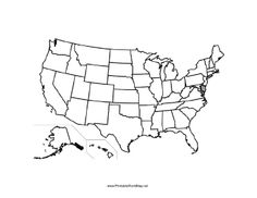 A printable map of the United States of America labeled with the