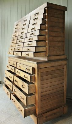 Large Antique Farmhouse Industrial Tool Chest of Drawers. A modern version of this might be good.