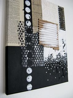 black and white mixed media painting. abstract canvas by ancagray