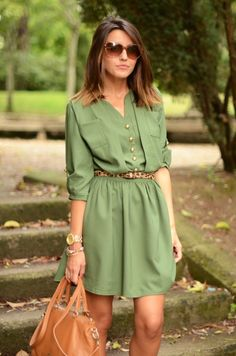 Relaxed classy, love this green hue with animal print accent belt