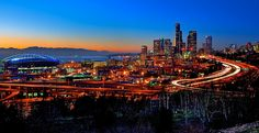 Seattle alive at sunset in WA, US