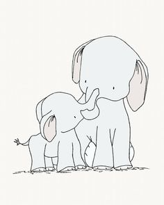 Elephant Nursery Art -- My Little Darling -- Elephant Mama And Baby -- Nursery Art Print -- Nursery Decor-- Children Art, Kids Wall Art