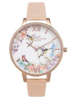 Olivia Burton Painterly Prints Hummingbird Watch - Peach & Rose Gold main image