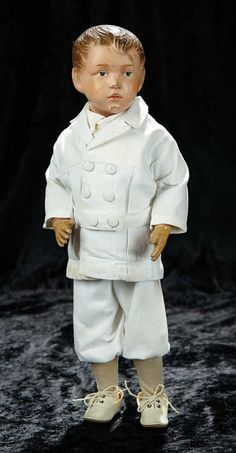 Soirée: A Marquis Cataloged Auction of Antique Dolls and Automata - May 14, 2016: Lot 141. American Carved Wooden Boy with Sculpted Hair and Original Norfolk Suit