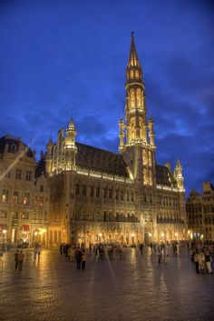 Brabantine Gothic.  Town Hall, Grand Place, Brussels, Belgium