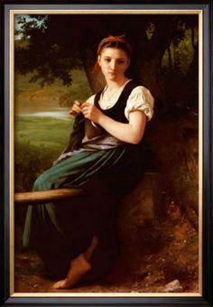 Knitting Girl - William Adolphe Bouguereau
