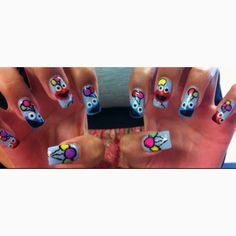 All hand drawn nail art! Done by me :)