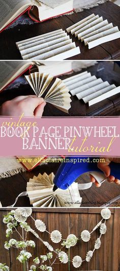 Book Page Pinwheel Banner Tutorial Vintage Book Page Pinwheel Banner Tutorial. Such a fun and easy for parties, weddings, and other events.Vintage Book Page Pinwheel Banner Tutorial. Such a fun and easy for parties, weddings, and other events. Old Book Crafts, Book Page Crafts, Diy Paper, Paper Crafts, Paper Art, Vintage Christmas, Christmas Crafts, Christmas Tree, Paper Banners