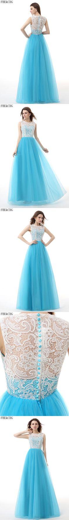 Real Picture Stock Light Blue Long Prom Dresses O -Neck White Lace Tulle Evening Party Dress Boho vestido longo abendkleider
