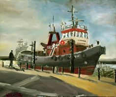 """Buy Original Oil Painting """"The Tug Christine in for a paint job"""" Colourful Painting! Lovely Gift!, Oil painting by Julian Lovegrove Art on Artfinder. Discover thousands of other original paintings, prints, sculptures and photography from independent artists."""