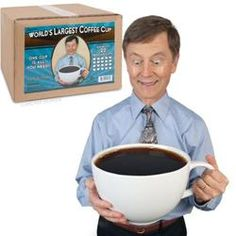 This crazy large coffee mug can hold 20 CUPS of coffee!!! World's Largest Coffee Cup  $59.95