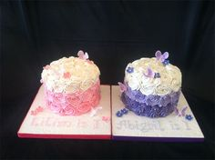 Ombre pink and purple cakes for twin's first birthday