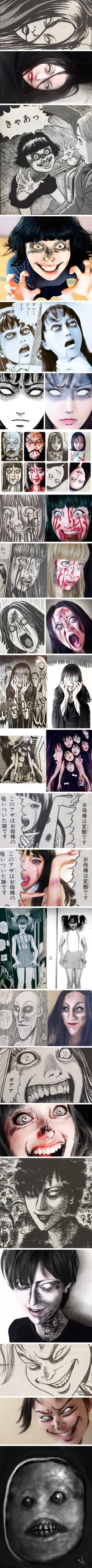 Recreating Scary Girls In Junji Ito's Manga With Facepaint - 9GAG