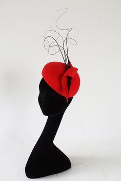Dutch design hand blocked red felt hat with by MarcusArtandFashion, $169.00
