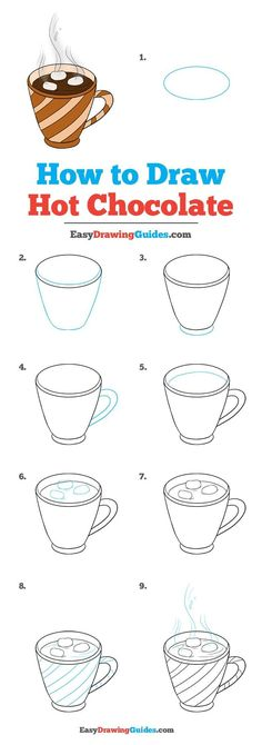 How to Draw Hot Chocolate – Really Easy Drawing Tutorial Learn How to Draw Hot Chocolate: Easy Step-by-Step Drawing Tutorial for Kids and Beginners. See the full tutorial at easydrawingguides…. Easy Drawing Tutorial, Easy Drawing Steps, How To Draw Steps, Step By Step Drawing, Learn To Draw, Food Drawing Easy, Learn Art, Easy People Drawings, Easy Drawings For Kids