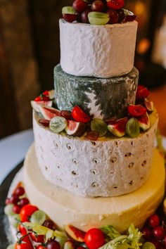 How scrummy does this cheese cake look?! Definitely the way to go if you're not a fan of cake and want to serve cheese as a supper option! Photo by Benjamin Stuart Photography #weddingphotography #cheesecake #weddingcake #cheese