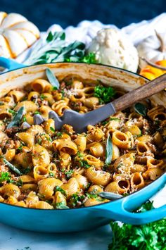 One Pot Spicy Sausage Pumpkin Pasta - Autumn inspired, easy skillet, savory pasta dinner with real pumpkin done in just one pot and in less than 30 minutes! Sage Sausage, Spicy Sausage, Sausage Pasta, Dinner Dishes, Pasta Dishes, Dessert Pasta, Fall Recipes, Dinner Recipes, Pasta Recipes