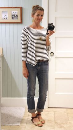 what i wore ||  stripes with denim