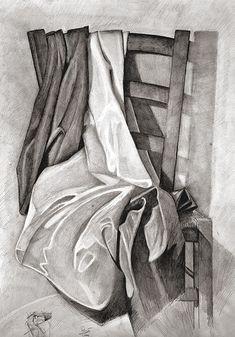 Graphite Drawings, Pencil Art Drawings, Realistic Drawings, Drawing Sketches, Still Life Sketch, Still Life Drawing, Still Life Art, Drapery Drawing, Fabric Drawing