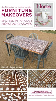 This Indian Inlay stenciled kitchen table was featured in Somerset Home Magazine. http://www.cuttingedgestencils.com/indian-inlay-stencil-furniture.html  #stencils #furnituremakeover