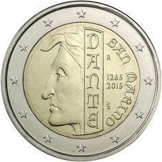 N♡T.2 euro: 750th Anniversary of the Birth of Dante Alighieri.Country:	San Marino  Mintage year:	2015 Face value:	2 euro Diameter:	25.75 mm Weight:	8.50 g Alloy:	Bimetal: CuNi, nordic gold Quality:	Proof, BU, UNC