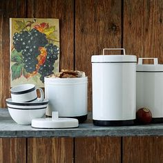 White Enamel Canisters #WestElm - These could be good storage for the changing station