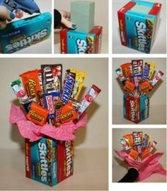 Making a Candy Bouquet...you could also use a vase from the dollar store instead of using candy boxes by lorid54