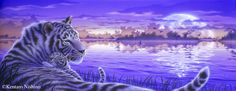 """Lullaby 2"" White Tigers  35.0 × 90.0cm, Acrylic on canvas, 2010  Gallery Bigcats - Art of Kentaro Nishino"