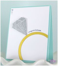 love this engagement card! It's like tiffany blue. Wedding Anniversary Cards, Wedding Cards, Love Cards, Diy Cards, Bachelorette Card, Scrapbook Cards, Scrapbooking, Congratulations Card, Creative Cards