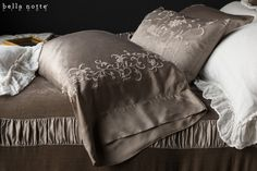 Josephine pillowcase and accent pillow with cotton embroidery on Satin