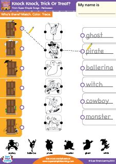 """""""Knock Knock, Trick Or Treat?"""" Match, Color, & Trace Halloween Worksheet from Super Simple Learning. #kindergarten #earlyelementary #ESL"""