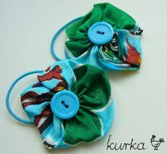 gumki handmade by kurka - turkusowe kwiaty